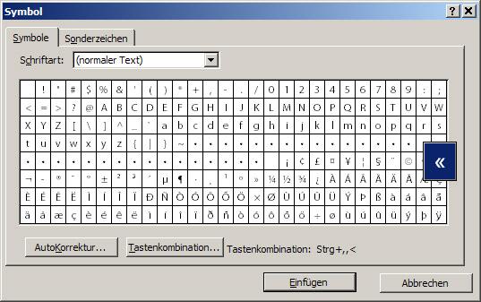 Word, Sonderzeichen